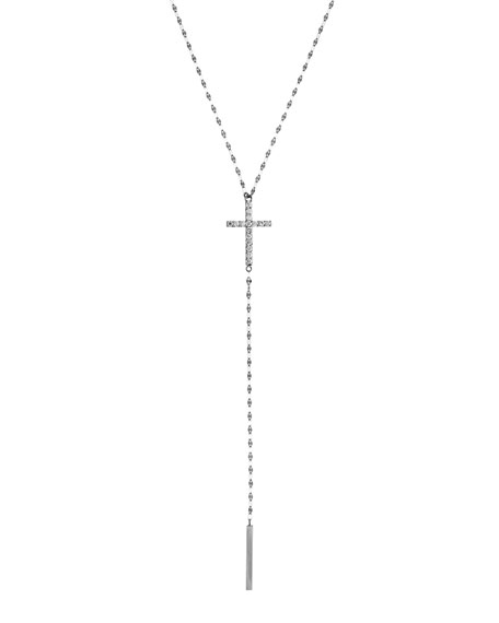 LANA Crossary 14K White Gold Necklace with Diamonds