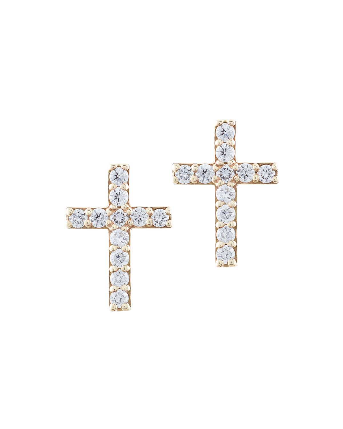 Diamond Cross Stud Earrings In 14k Gold