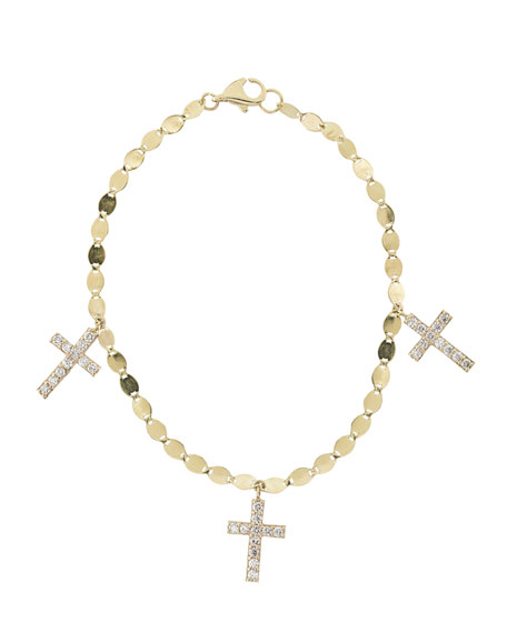 Triple Diamond Cross Charm Bracelet