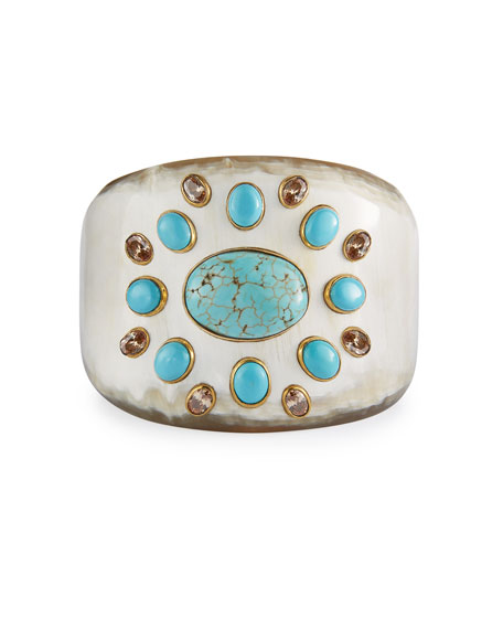 Ashley Pittman Bendi Turquoise & Orange Zircon Tapered