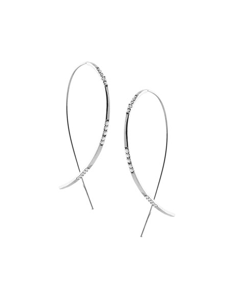 Large Expose Upside Down Hoop Earrings with Diamonds in 14K White Gold