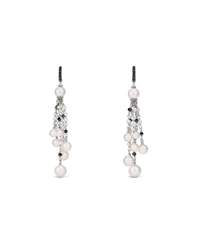 Oceanica Pearl & Black Spinel Tassel Earrings