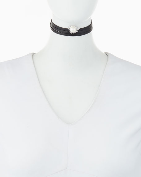 Fallon Monarch Pearly Crystal Leather Choker Necklace