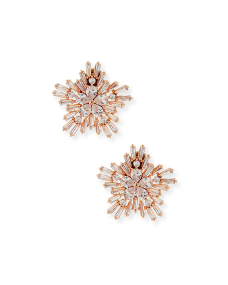 Fallon Monarch Starburst Crystal Earrings, Rose Golden