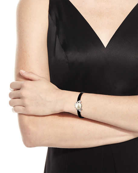 Monarch Pearly Leather Cuff Bracelet, Black