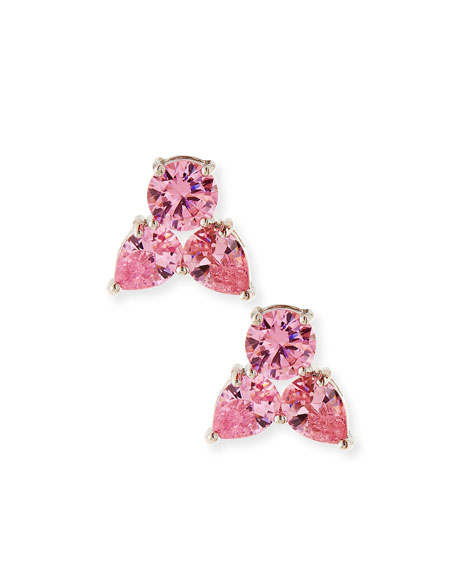 Monarch Pointed Cluster Stud Earrings, Pink