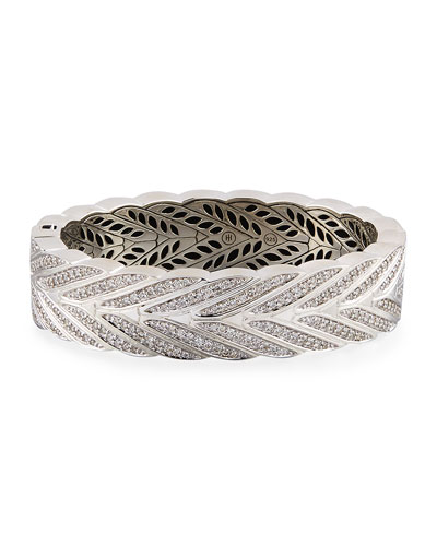 Modern Chain Silver Diamond Large Hinged Bangle