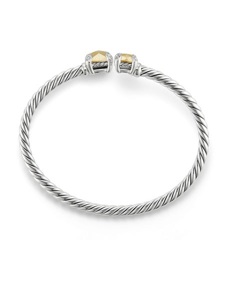 Châtelaine Faceted 18K & Sterling Silver Bypass Bracelet with Diamonds