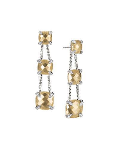 Châtelaine Chain Three-Drop Earrings in Bonded 18K Gold with Diamonds