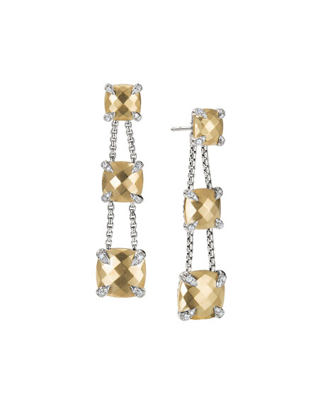 David Yurman Châtelaine Chain Three-Drop Earrings in Bonded