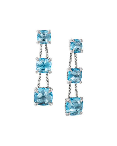 David Yurman Ch??telaine Chain Three-Drop Earrings in Blue
