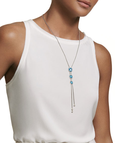 Châtelaine Faceted 18K Gold Blue Topaz Lariat Necklace with Diamonds