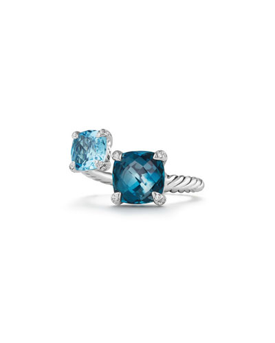 Châtelaine Blue Topaz Sterling Silver Bypass Ring with Diamonds