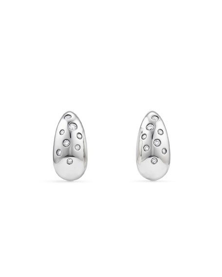 David Yurman 15mm Pure Form Earrings with Diamonds