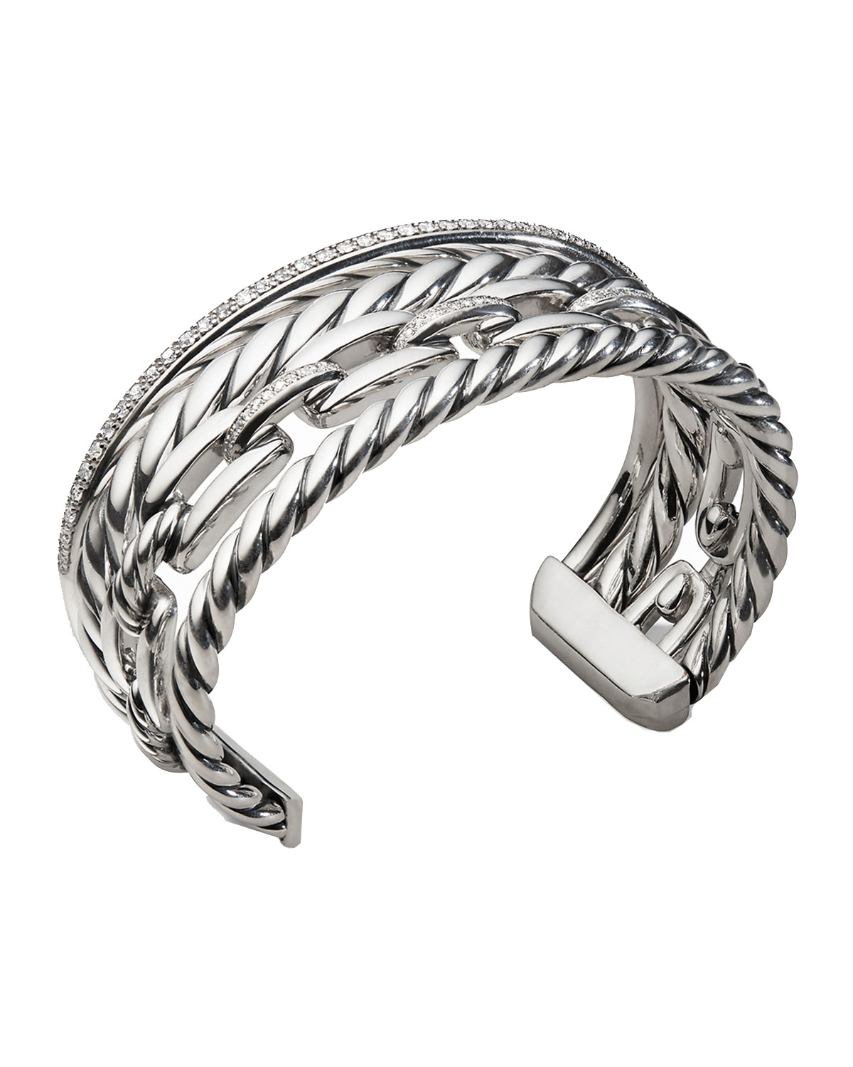 230f16c441d7c David YurmanWellesley Sterling Silver Four-Row Cuff Bracelet with Diamonds
