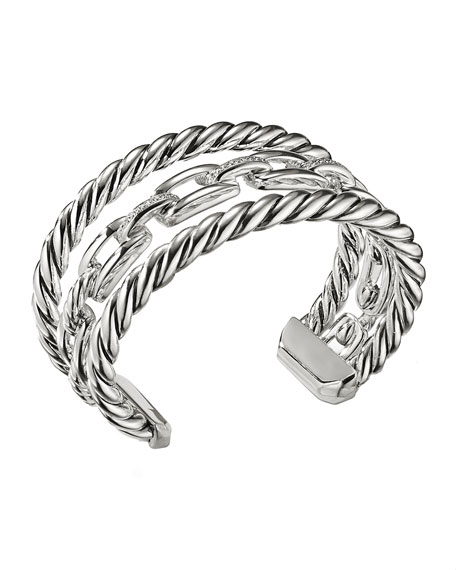 Wellesley Sterling Silver Three-Row Cuff Bracelet with Diamonds