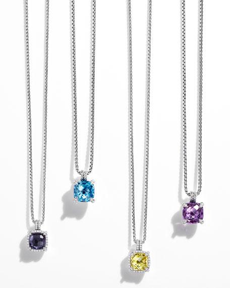 Châtelaine Faceted Lavender Amethyst & Hematite Pendant Necklace with Diamonds