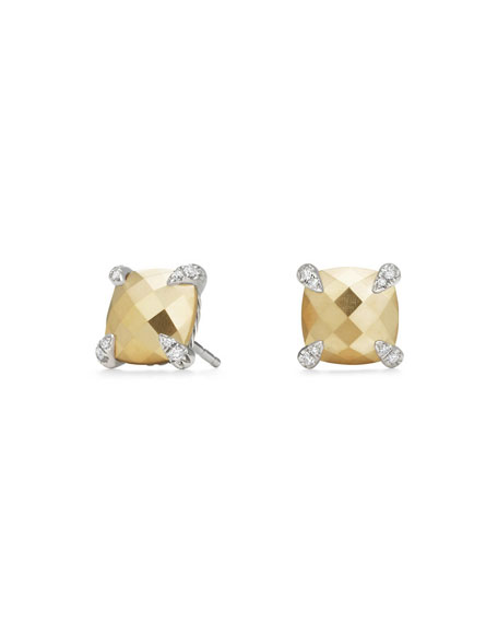 David Yurman Ch??telaine 18K Faceted Gold Dome Stud