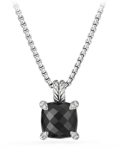 11mm Châtelaine Onyx Pendant Necklace with Diamonds
