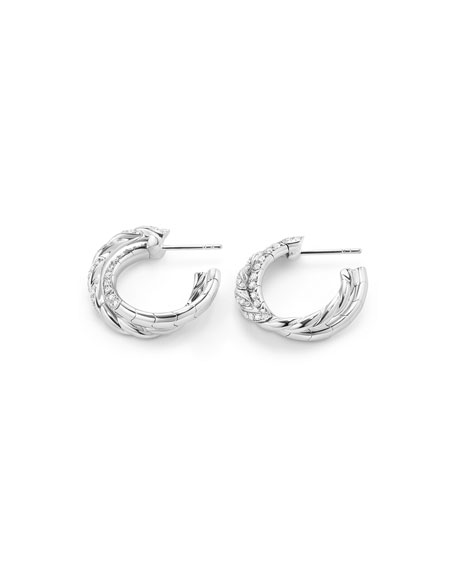 18k Paveflex Diamond Hoop Earrings, 1.0tcw