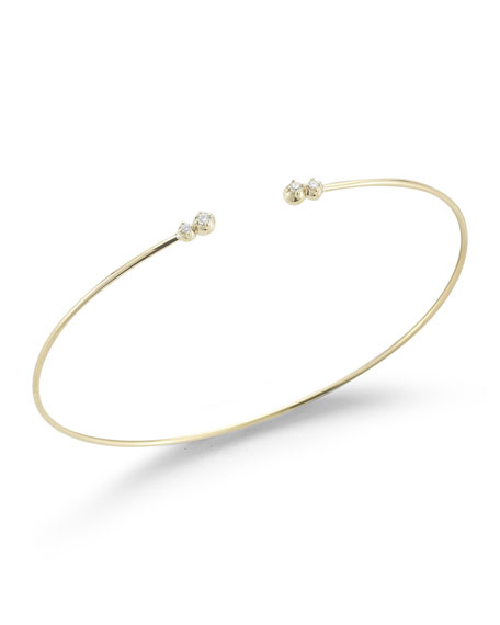 Thin Cuff Bracelet with Four Diamonds
