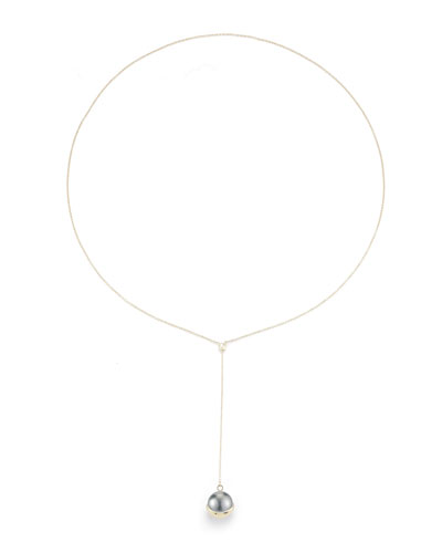 Fluid Tahitian Pearl Lariat Drop Necklace