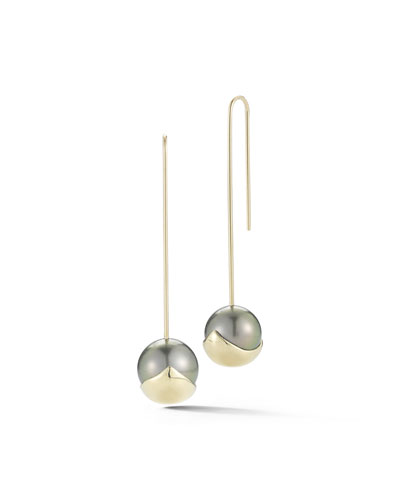 Fluid Pearl Bar Drop Earrings