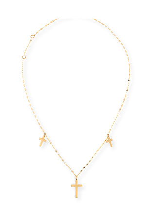 Lana Triple Cross Necklace in 14K Gold