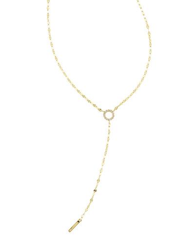 Mini Diamond Circle Lariat Necklace