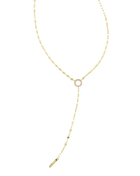 LANA Mini Diamond Circle Lariat Necklace