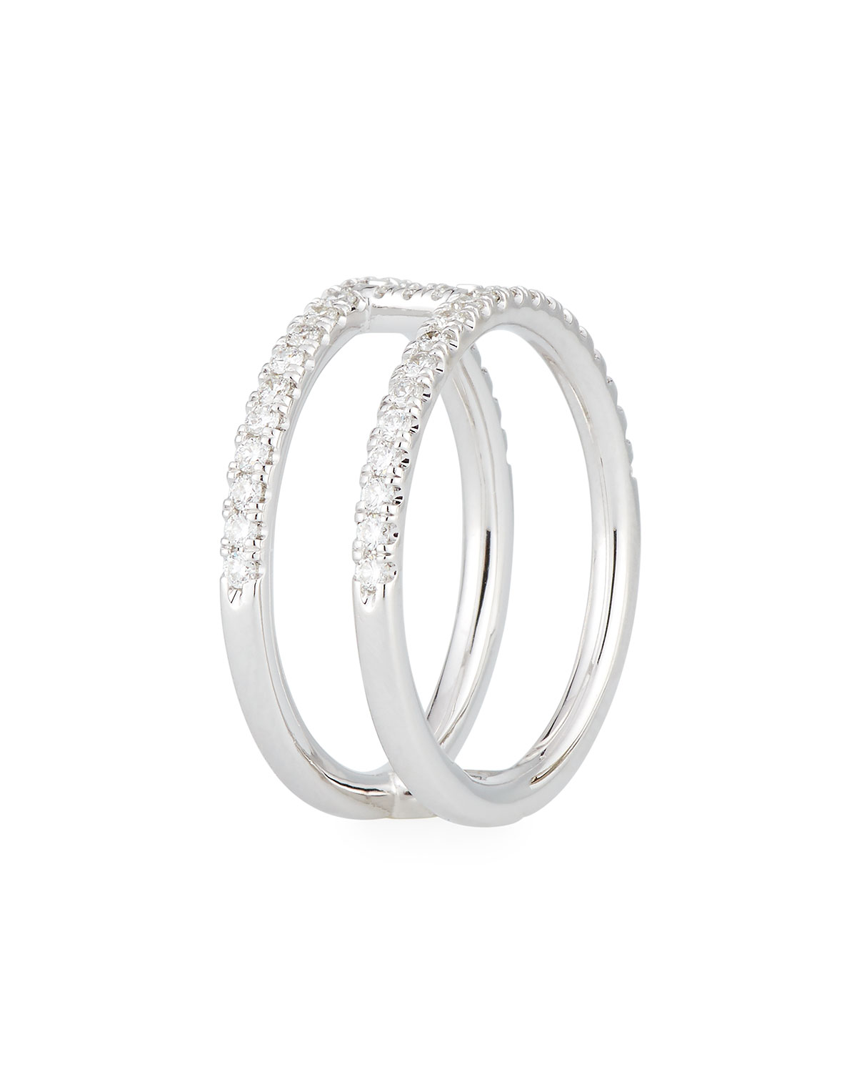 Roberto Coin Floating Diamond Two-Bar Ring in 18K White Gold, Size 6.5