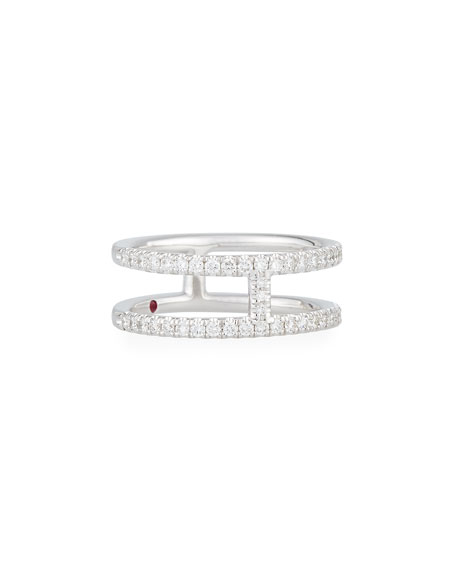 Roberto Coin Floating Diamond Two-Bar Ring in 18K