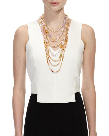 Beaded Quartz, Amethyst & Citrine Multi-Strand Necklace