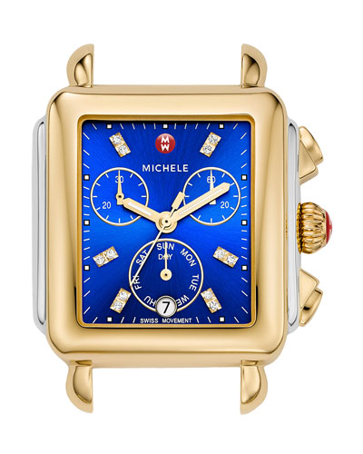 Deco Two-Tone Chronograph Watch Head with Diamonds, Blue
