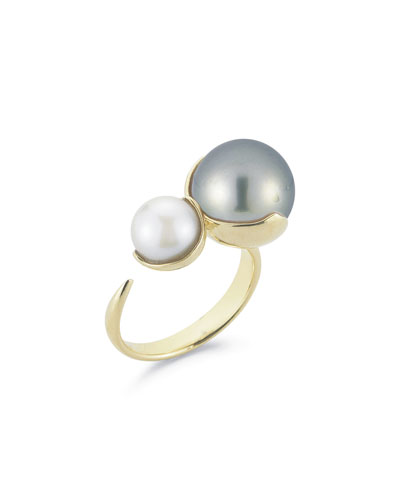 Fluid Double Pearl Open Ring in 14K Yellow Gold