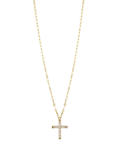 LANA GIRL Girls' Diamond Cross Pendant Necklace in Gold