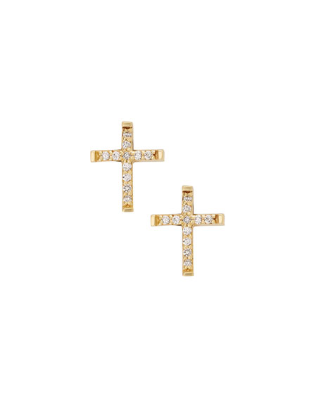 LANA GIRL Girls' Diamond Cross Stud Earrings in Gold
