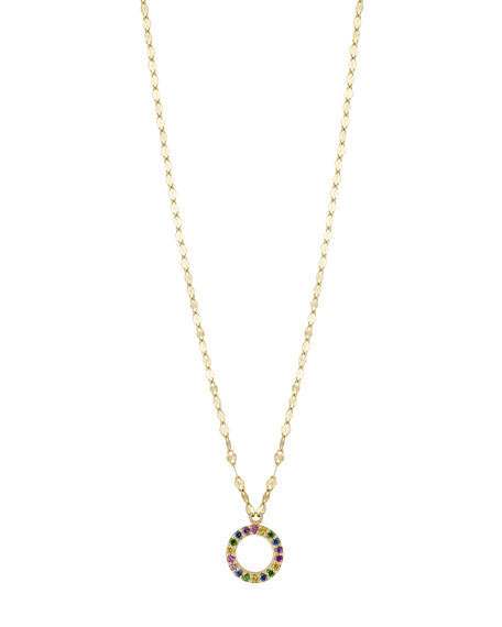 LANA GIRL Girls' Mini Open Circle Rainbow Sapphire Pendant Necklace in Gold