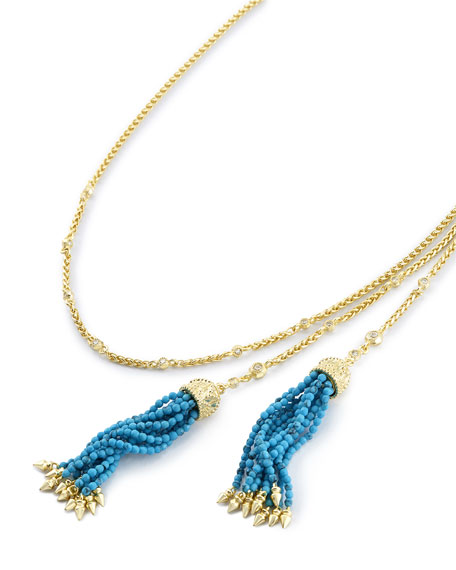 Monique Beaded Tassel Necklace, Golden/Blue