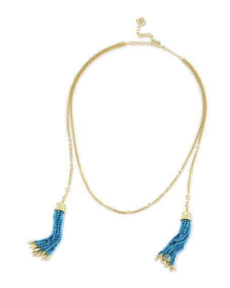 Kendra Scott Monique Beaded Tassel Necklace, Golden/Blue