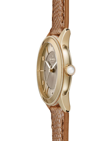 Gail 36mm Leather Strap Watch, Dark Camel/Golden