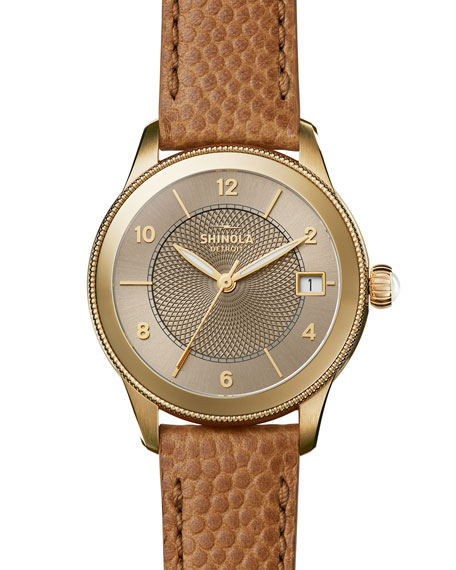 Shinola Gail 36mm Leather Strap Watch, Dark Camel/Golden