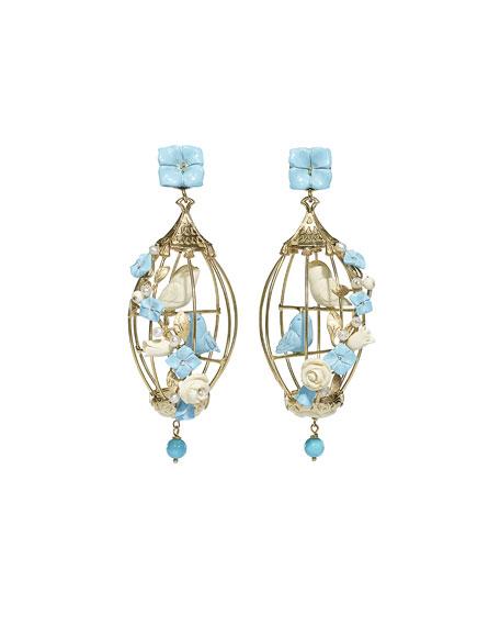 Lovebirds Turquoise & Pearl Drop Earrings