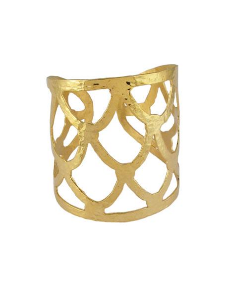 Textured Golden Cuff Bracelet