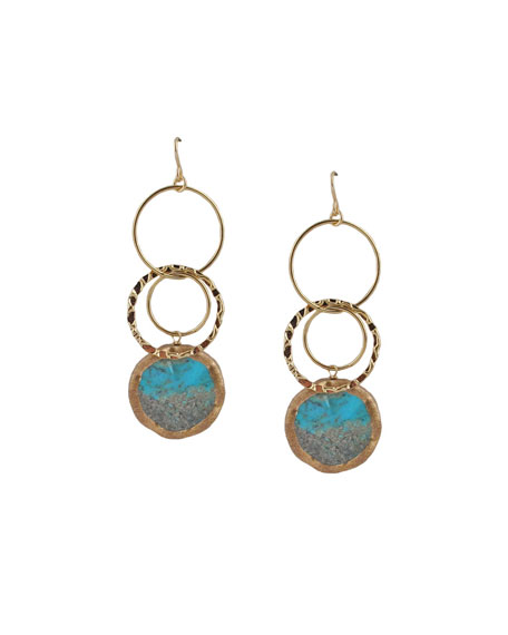 Turquoise Circle Drop Earrings