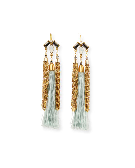 Chain & Silk Tassel Statement Earrings
