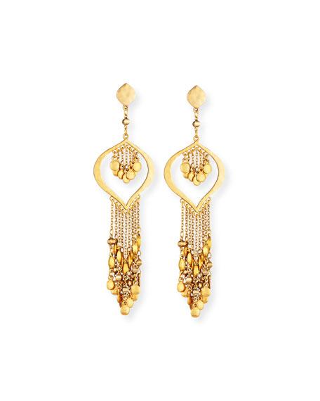 Hammered Golden Dangle Earrings