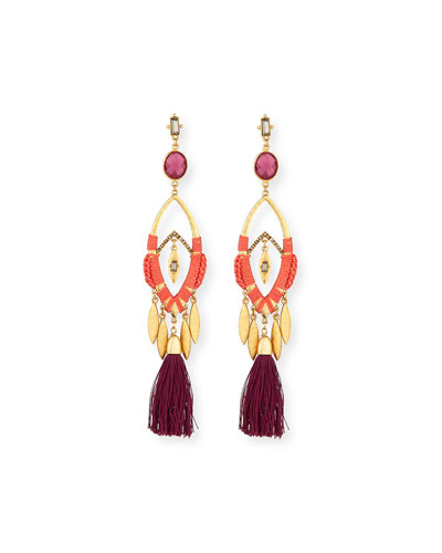 Colorful Tasseled Statement Earrings