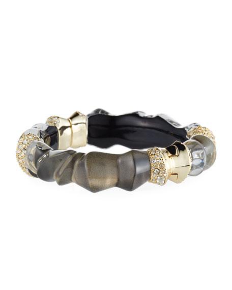 Sculptural Crystal-Encrusted Hinge Bracelet