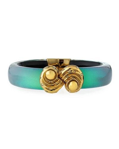 Crystal-Studded Shell-Cap Bracelet
